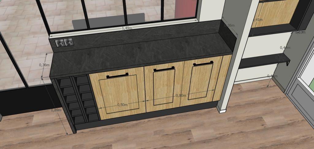 C'est un dessin 3D d'une cuisine avec ses meubles bas au style industriel