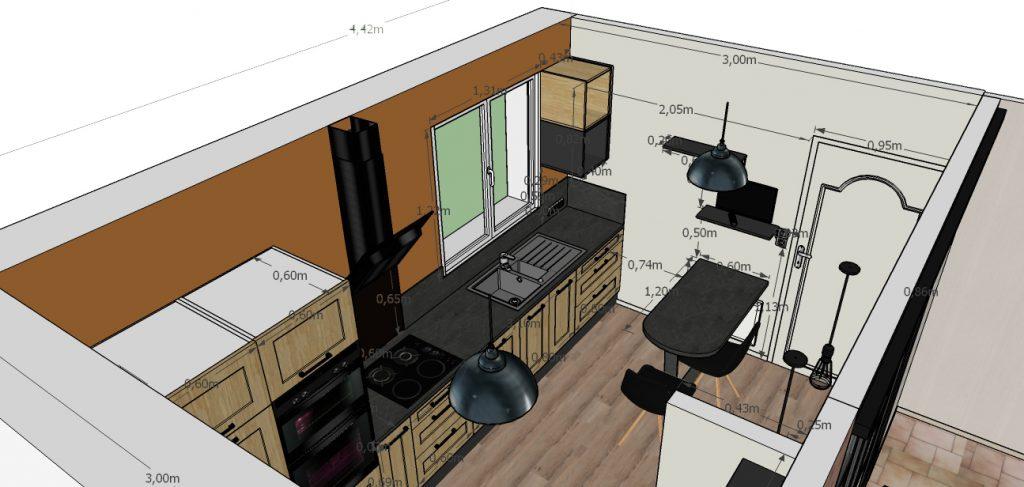 C'est un dessin 3D d'une cuisine au style industriel avec sa table à manger