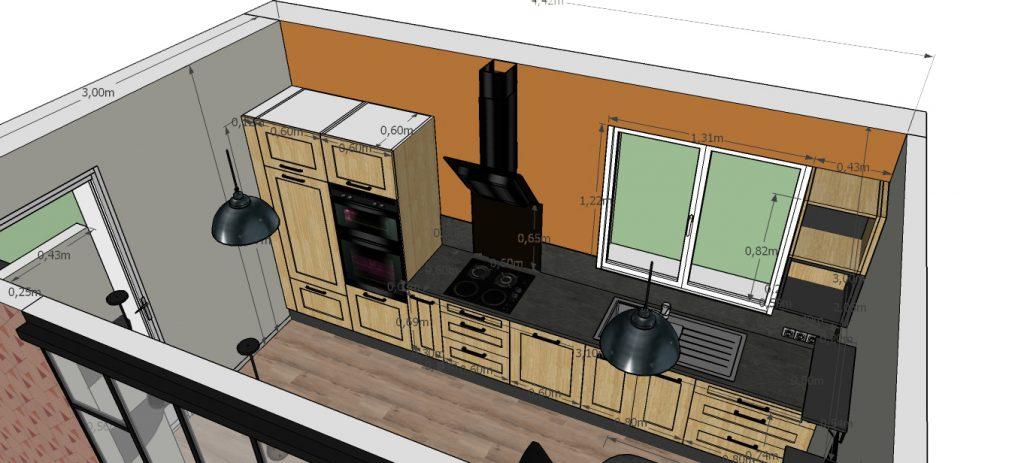 C'est un dessin 3D d'une cuisine au style industriel