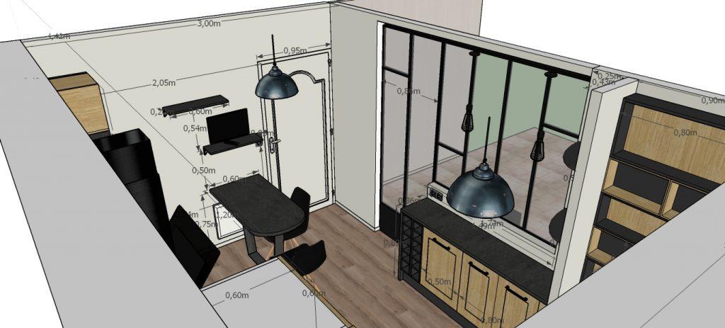 C'est un projet 3D d'une cuisine industrielle avec sa verrière et sa table à manger