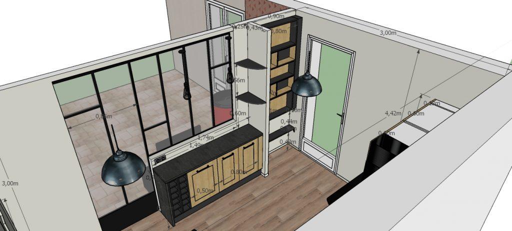 C'est un projet 3D d'une verrière et de sa cuisine industrielle