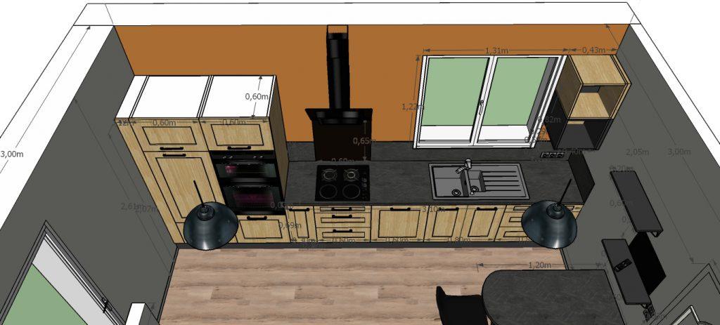 C'est un projet 3D d'une cuisine au style industriel avec sa table à manger