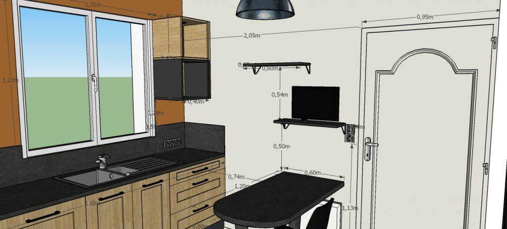 C'est un projet 3D d'une cuisine au style industriel