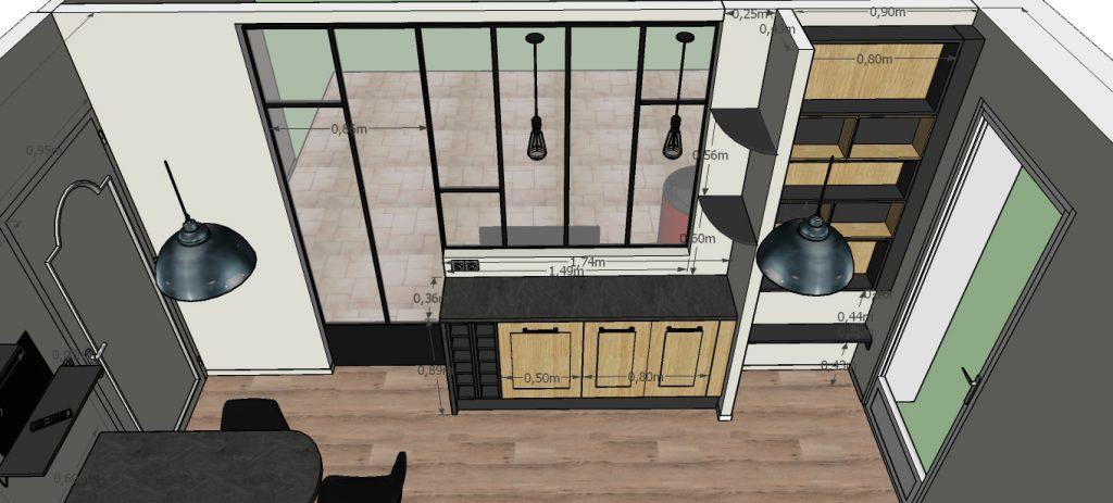 C'est un projet 3D d'une cuisine industrielle avec sa verrière