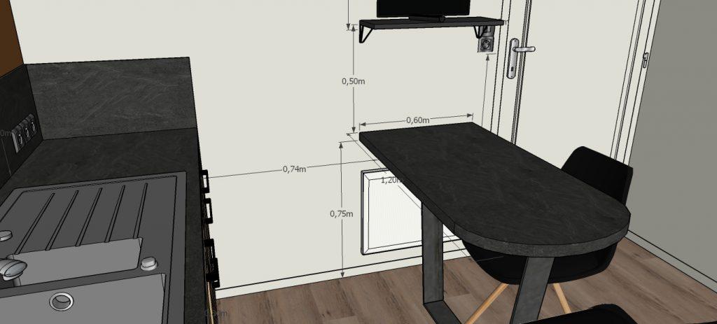 C'est un projet 3D d'une cuisine au style industriel avec sa table